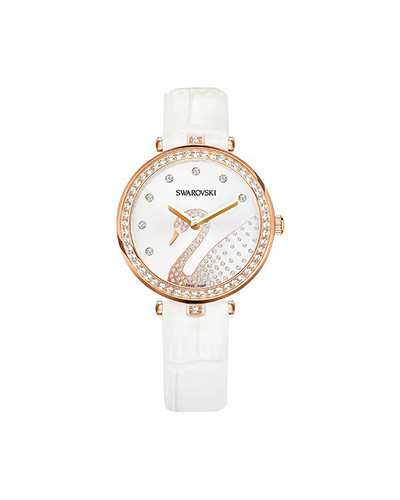 Swarovski-Aila-Dressy-Lady-Swan-Watch-Leather-strap-White-Rose-gold-tone-5376639-W600