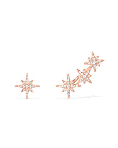 不对称粉金色纯银镶晶钻流星耳环