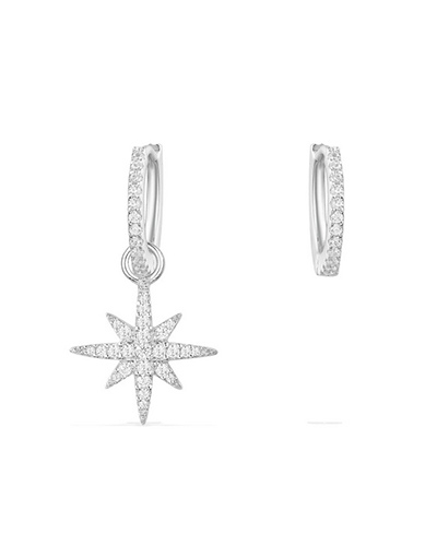 不对称纯银镶晶钻小流星耳环