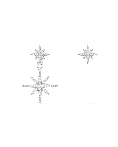 不对称纯银镶晶钻流星耳环
