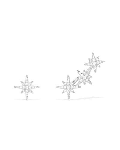不对称纯银镶晶钻流星耳环2
