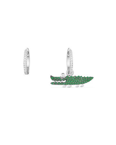 不对称纯银镶薄荷绿晶钻小鳄鱼造型耳环