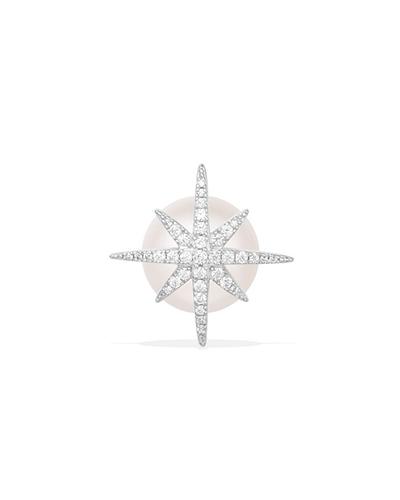 单只纯银镶晶钻流星珍珠耳钉