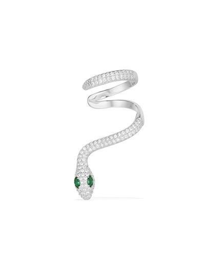 单只纯银镶晶钻蛇形耳骨夹耳环