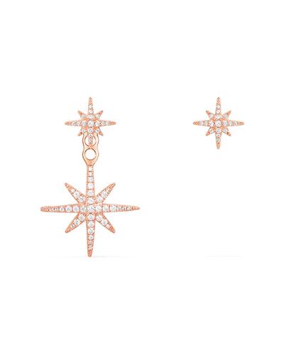 粉金色不对称纯银镶晶钻流星耳环