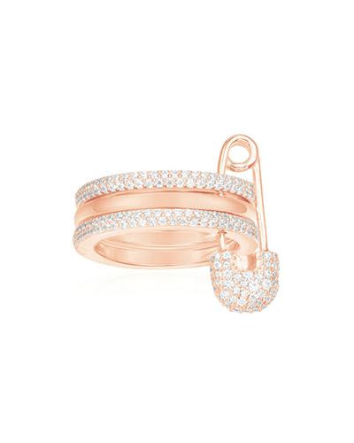 粉金色纯银镶晶钻别针戒指