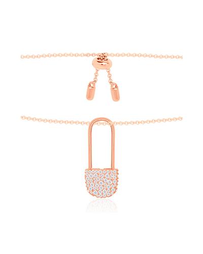 粉金色纯银镶晶钻别针项链