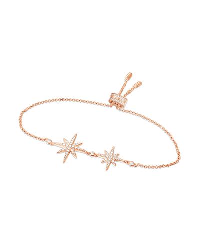 粉金色纯银镶晶钻双流星手链