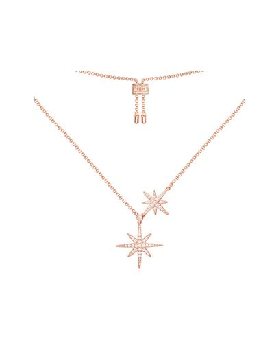 粉金色纯银镶晶钻双流星项链