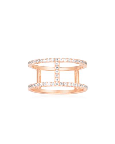 粉金色纯银镶晶钻戒指