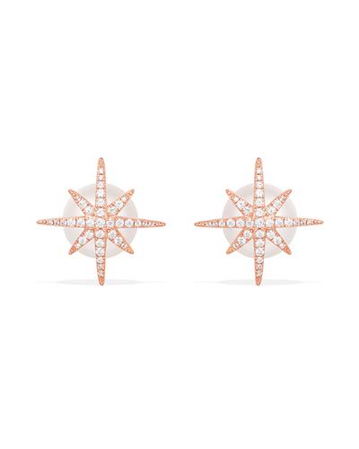 粉金色纯银镶晶钻流星珍珠耳钉