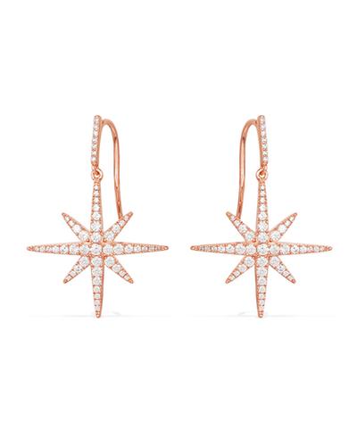 粉金色纯银镶晶钻流星耳环