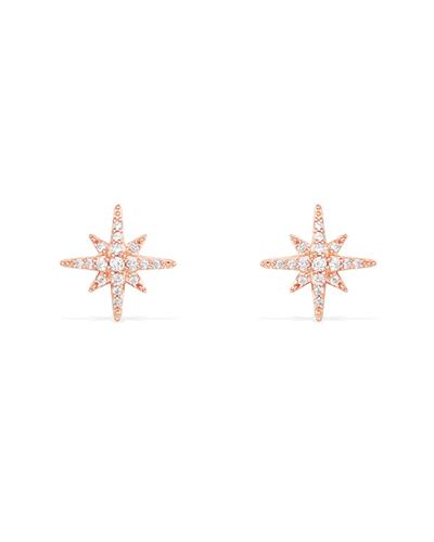 粉金色纯银镶晶钻流星耳钉