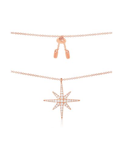粉金色纯银镶晶钻流星项链