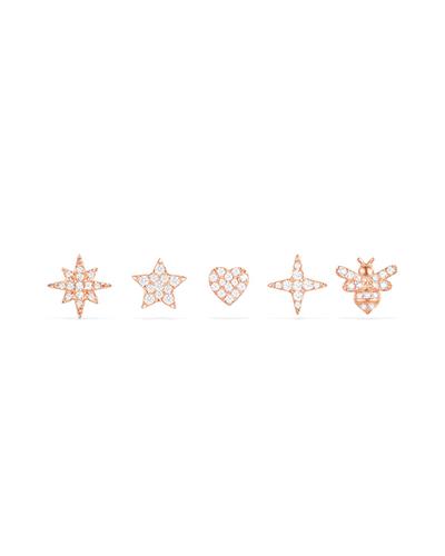 粉金色纯银镶晶钻耳钉组合