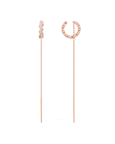 粉金色纯银镶晶钻Z字形链条耳环