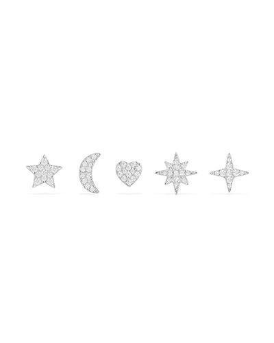 纯银夜空镶晶钻耳钉组合