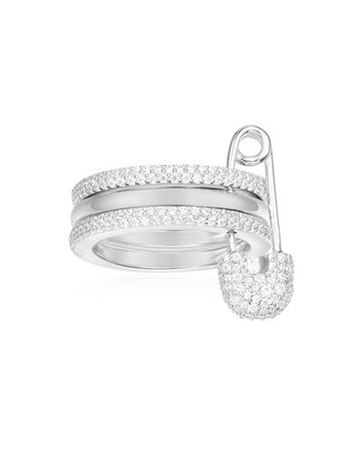 纯银镶晶钻别针戒指
