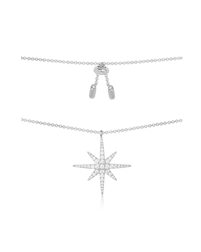 纯银镶晶钻单颗流星项链