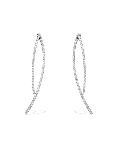 纯银镶晶钻双曲线耳环