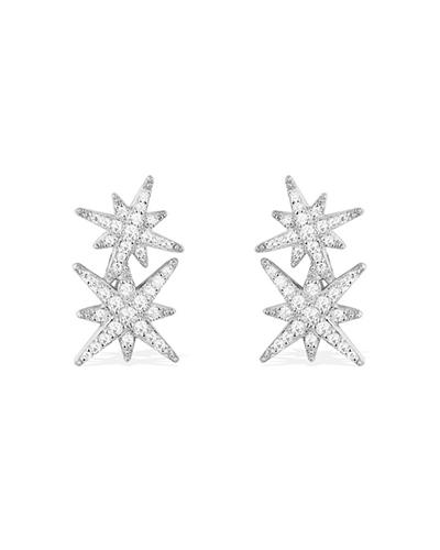 纯银镶晶钻双流星耳钉