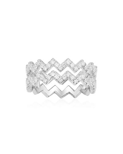 纯银镶晶钻双行Z字形戒指