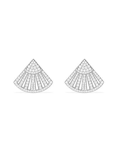 纯银镶晶钻扇形耳钉