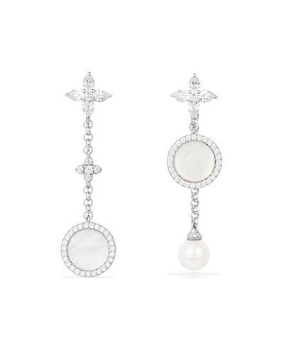 纯银镶晶钻母贝珍珠垂坠耳环