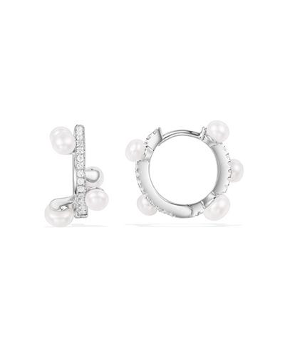 纯银镶晶钻珍珠土星耳环