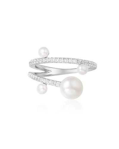 纯银镶晶钻珍珠戒指