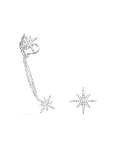 纯银镶晶钻耳骨夹耳环