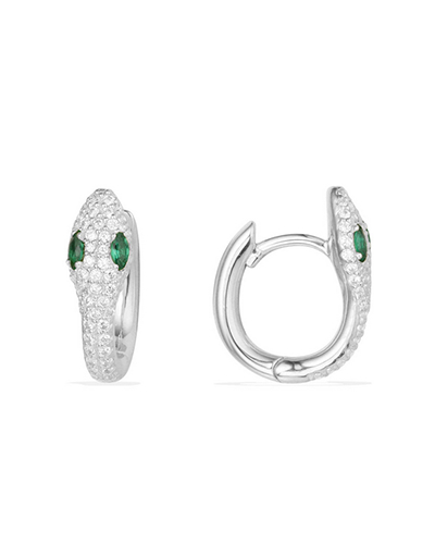 纯银镶晶钻蛇形耳环