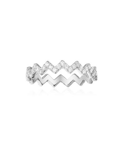 纯银镶晶钻Z字形戒指