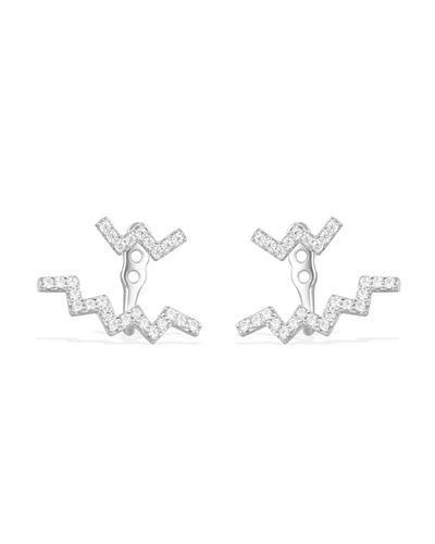 纯银镶晶钻Z字形耳环