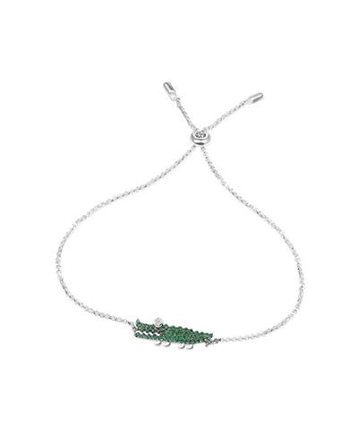 纯银镶薄荷绿晶钻小鳄鱼手链