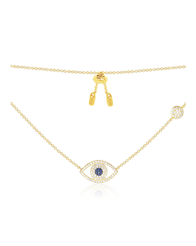 金黄色纯银镶晶钻幸运眼项链