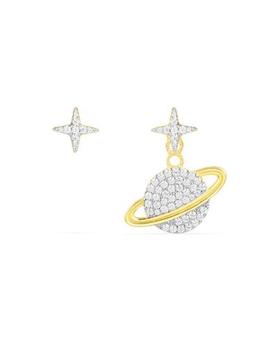 金黄色纯银镶晶钻星球不对称耳环