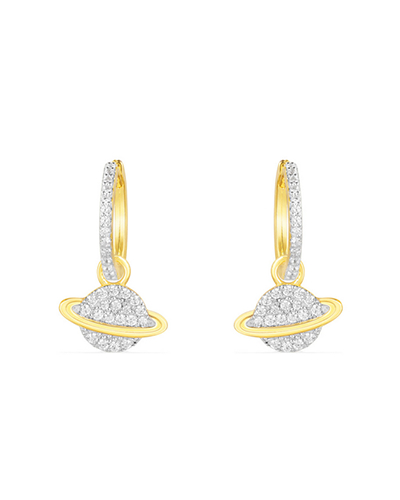 金黄色纯银镶晶钻星球耳环