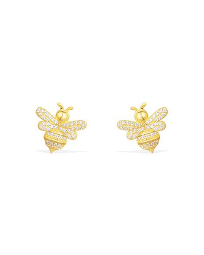金黄色纯银镶晶钻蜜蜂耳钉