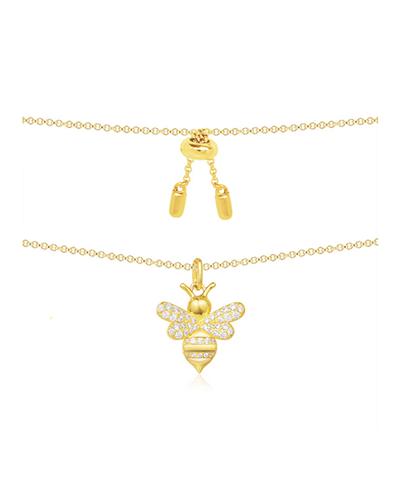 金黄色纯银项链配镶晶钻蜜蜂吊饰