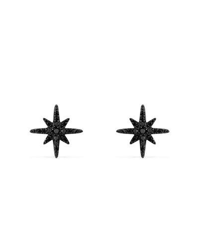 黑色纯银镶晶钻耳钉