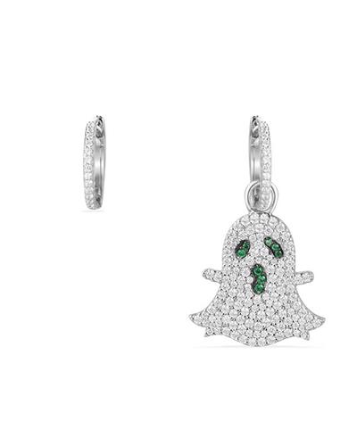 不对称纯银镶晶钻幽灵造型耳环