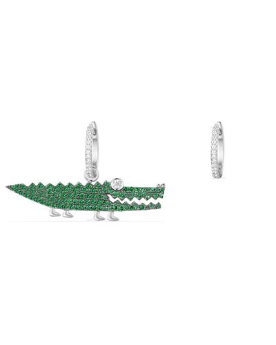 不对称纯银镶薄荷绿晶钻小鳄鱼造型耳环2