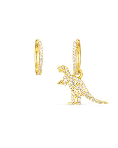不对称金黄色纯银镶晶钻恐龙耳环
