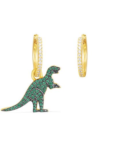 不对称金黄色纯银镶薄荷绿晶钻小恐龙耳环