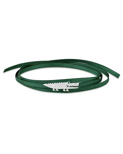 纯银镶晶钻小鳄鱼绿色缎带项圈手链