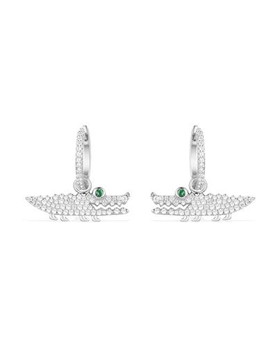 纯银镶晶钻小鳄鱼造型耳环