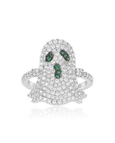 纯银镶晶钻幽灵造型戒指