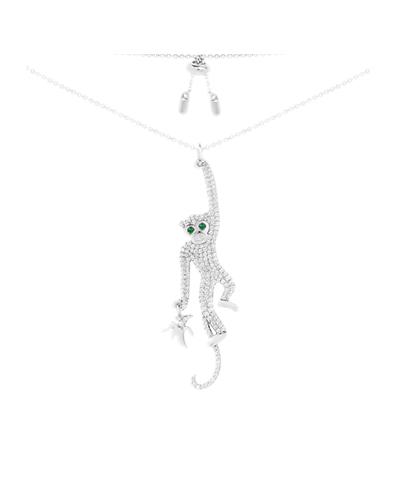 纯银镶晶钻灵猴造型项链