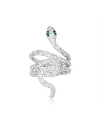 纯银镶晶钻蛇形戒指